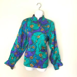 Vintage Silk Abstract Top